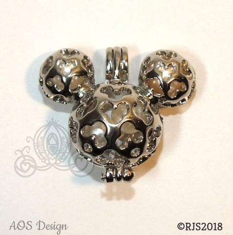Mickey Mouse Hidden Mickey Necklace Scrollwork Pendant Silver Locket Charm Holds Pearls Beads Gem