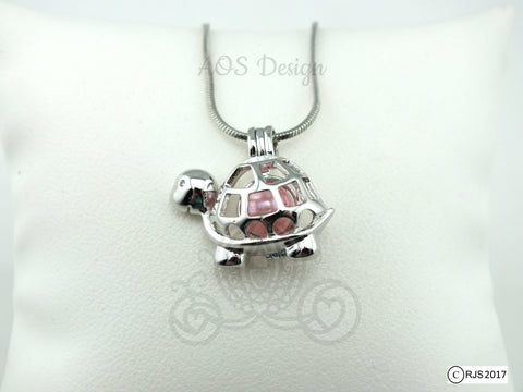 Happy Cute Turtle Pearl Cage Necklace Animal Bead Cage Locket Charm