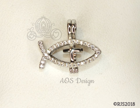 Ichthys Jesus Fish with Cross Pearl Cage Silver Plated Locket Symbol Necklace Crystal Accents