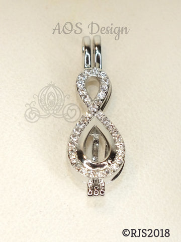 Crystal Infinity Pearl Cage Silver Plated Locket Symbol Necklace Crystal Accents