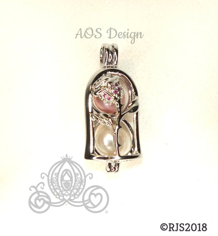 Enchanted Rose Pearl Cage Silver Plated Locket Beauty Beast Bell Jar CHARM ONLY