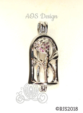 Enchanted Rose Pearl Cage Silver Plated Locket Crystal Accents Beauty Beast Rose in Bell Jar