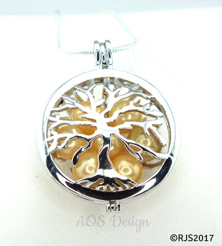 Family Tree Pearl Cage Necklace Silver Plated Locket Charm Tree of Life Mother