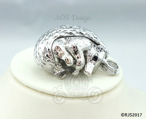 Hedgehog Pearl Cage Necklace Baby Pet Cute Animal Silver Plated Locket Charm