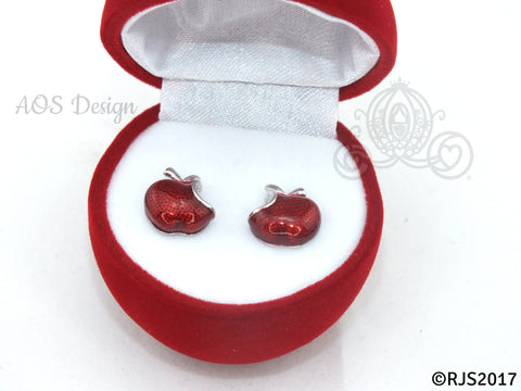 Snow White Disney Princess Snow White Red Apple Sterling Silver Earrings with GIFT BOX Swarovski Crystal Descendants