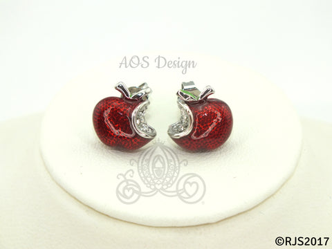 Snow White Disney Princess Snow White Red Apple Sterling Silver Earrings Swarovski Crystal Descendants