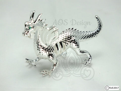 Silver Pearl Dragon Cage Pick Pearl Necklace Green Eyes Maleficent Charm Metal Pendant Locket LE