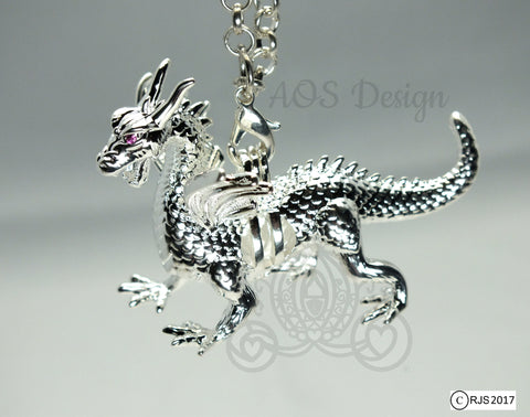Silver Pearl Dragon Cage Pick Pearl Necklace Red Ruby Eyes Maleficent Charm Metal Pendant Locket LE