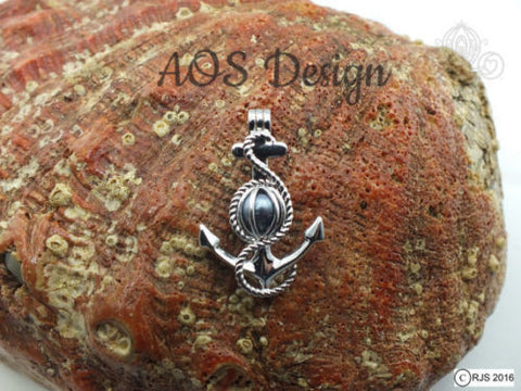 Anchor Pick A Pearl Necklace 925 Sterling Silver Cage Silver Necklace Boat Ship Anchor Beach Ocean Charm Nautical