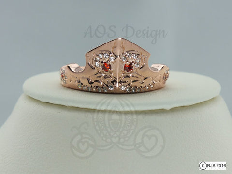 Aurora Sleeping Beauty Ring Rose Gold Tiara Princess Disney Crown 18kt Gold Plated Sterling Silver