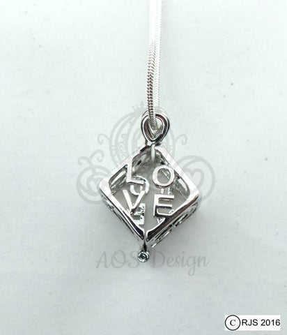 Love Peace Box Pick A Pearl Cage 925 Sterling Silver Symbol Charm Love Heart