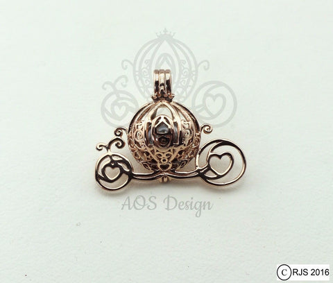 Cinderella Carriage Pearl Cage 18kt Rose Gold Plated 925 Sterling Silver Charm Necklace Pick A Pearl or Wish Pearl Epcot Holds Akoya Pearl