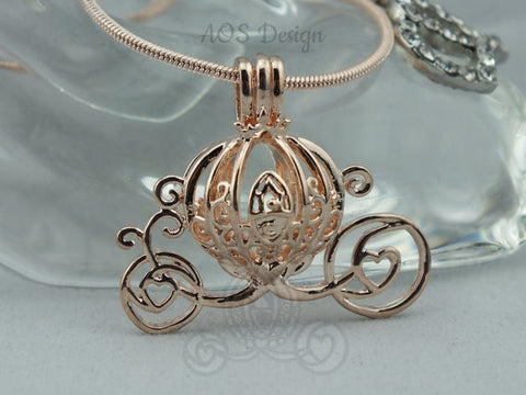 Cinderella Carriage Pearl Cage Rose Gold Plated Charm Necklace Princess Cinderella Pick A Pearl or Wish Pearl Epcot Pumpkin Locket