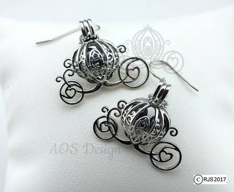 Cinderella Carriage Earrings Pick A Pearl Cage Silver Plated Earrings BLUE Bead Pearl Pumpkin Locket Charm