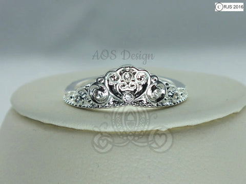 Cinderella Carriage Ring Exclusive 925 Silver Princess Heart Queen Crystal Handmade