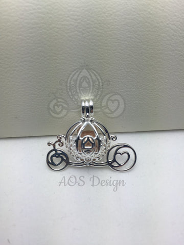 Cinderella Carriage Pearl Cage Silver Plated Charm Necklace Princess Pick A Pearl or Wish Pearl Epcot Pumpkin Locket