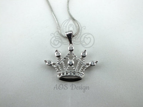 "Princess Tiara Crown Necklace 925 Silver Plated Pendant Crystals 18"" Chain New"