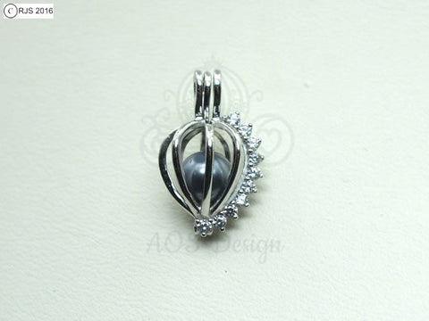 Crystal Heart Charm Pick Pearl 925 Sterling Silver Pearl Cage Necklace Pendant Locket Oval Shape