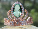 Elsa Anna Rose Gold Ring Princess Tiara Ring Frozen Crown with Aquamarine or Clear Cubic Zirconia