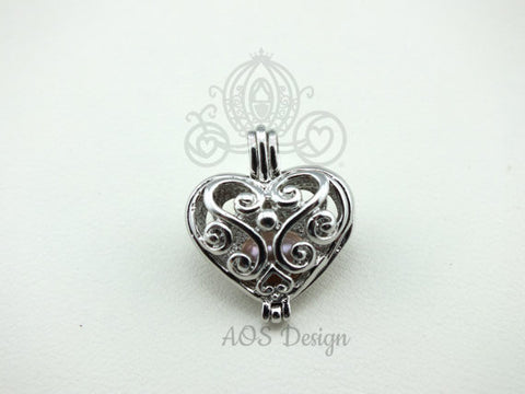 Scroll Work Heart Pearl Cage Silver Plated Fairy Scroll Work Heart Holds Multiple Pearls for Akoya and Freshwater Pearls or Beads
