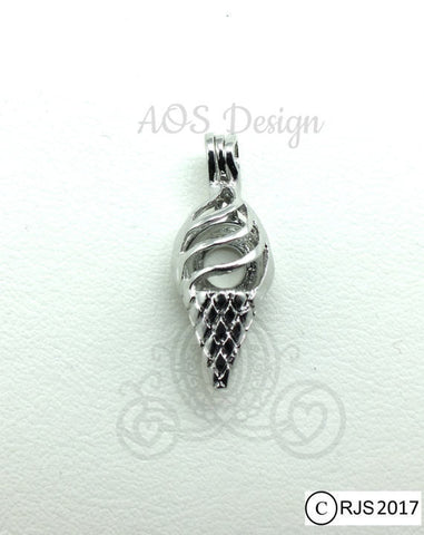 Ice Cream Cone Pearl Cage Silver Ice Cream Cone Charm Holds Pearl Bead Gem Silver Locket