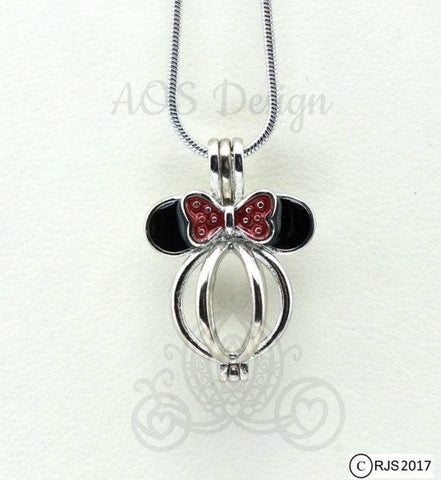 Mouse with Bow Pearl Cage Pick A Pearl or Wish Pearl Holder Akoya Pearl Locket Bowknot Pearl Cage Necklace