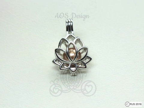 Lotus Flower Cage Sterling Silver Charm Pearl Cage 925 Pendant Holds 9mm pearls Pearl Cage Necklace