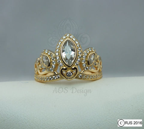 Rapunzel Ring 18k Gold Plated 925 Silver Tiara Princess Ring Rapunzel Tangled Crown Crystals