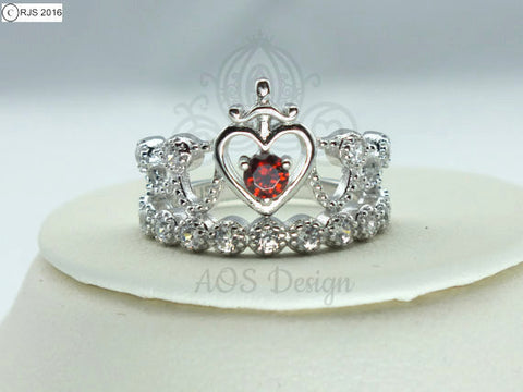 Snow White Princess Sword Heart Ring 925 Sterling Silver Crystals Snow Red Heart Crystal Crown Tiara Kingdom