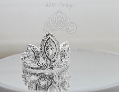Rapunzel Ring 925 Solid Silver Tiara Princess Ring Rapunzel Tangled Crown Crystals