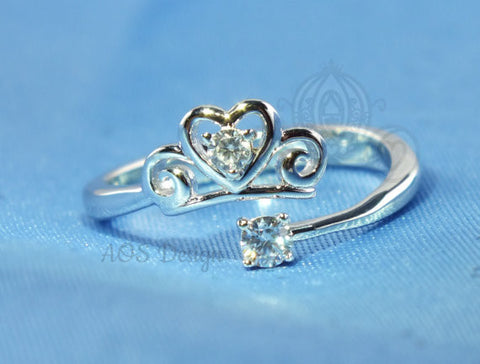 Princess Cinderella Heart Tiara / Pumpkin Heart 925 Solid Silver Open Ring