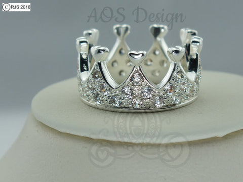 Princess Heart Crown Ring Sterling Silver Princess Queen Crystals