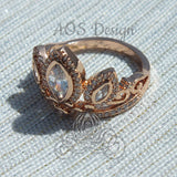 Rapunzel Rose Gold Tiara Princess Ring Tangled Crown Crystals Rose Gold 925 Silver or Brass