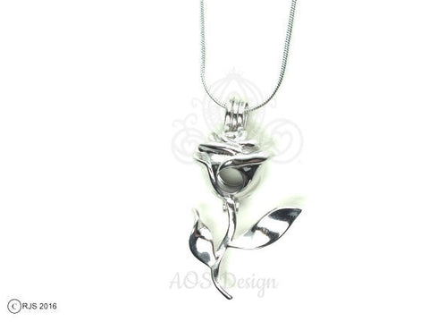 Rose Charm Pick Pearl Cage 925 Sterling Silver Necklace Pendant Beauty Beast Rose Flower
