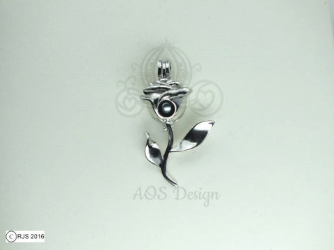 Rose Pearl Cage Rose Stem Charm Holds Pearl Bead Gem Beauty Belle Silver Locket