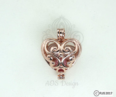 Scroll Work Heart Rose Gold Plated Pick A Pearl Cage Fairy Multi Pearl Holder Scroll Work Heart Locket Holds Pearl Bead Gem