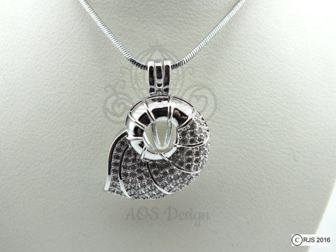 Nautilus Shell Pick A Pearl Cage Silver Necklace Mermaid Beach Treasure Crystal Accents Pearl Cage Necklace