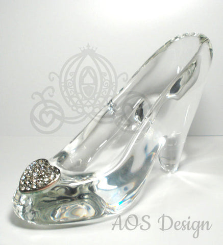 Cinderella Glass Slipper .925 Silver Heart Buckle with Crystals Engagement Wedding Birthday Gift Princess