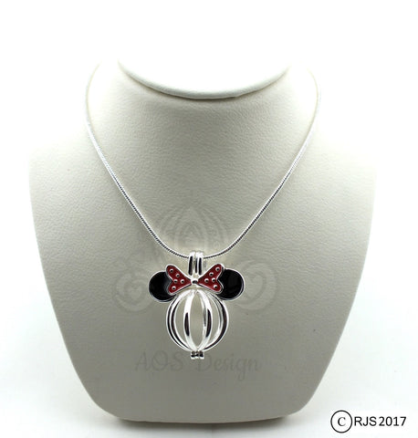 Mouse with Bow 925 Sterling Silver Mouse Head Pearl Cage Charm Necklace Pick A Pearl or Wish Pearl Epcot