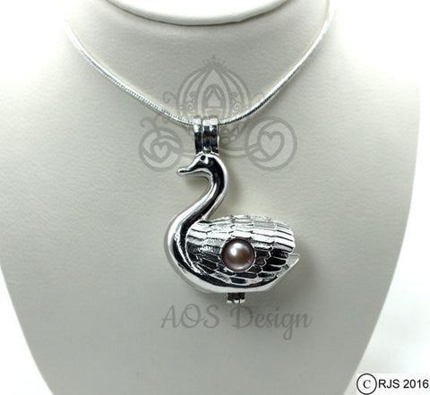 Swan Pick A Pearl Cage Silver Necklace Pendant Princess Swan Bird Holds 2 Pearls