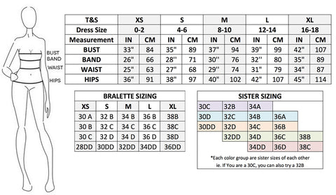 size chart dress bralette sister sizing bra