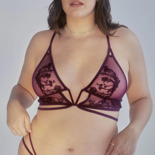Mullberry Keyhole Bralette - Cherry