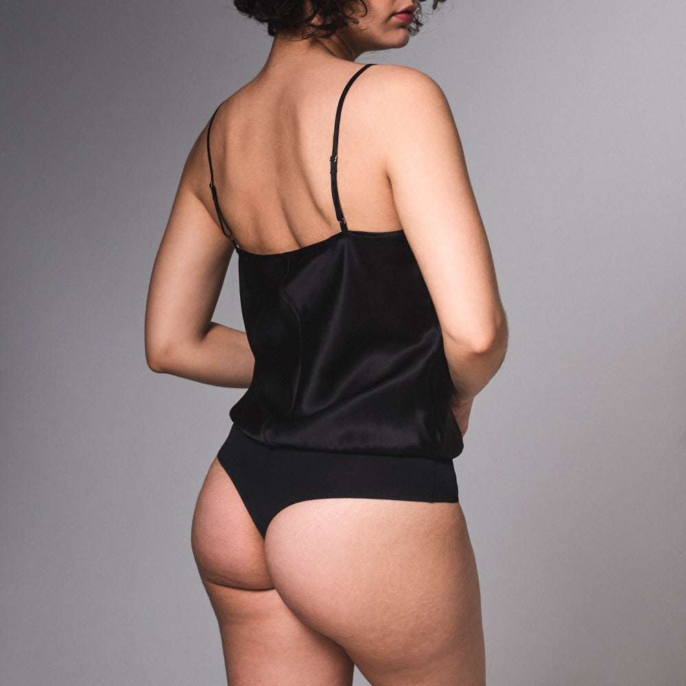 Surry Silk Bodysuit - Black