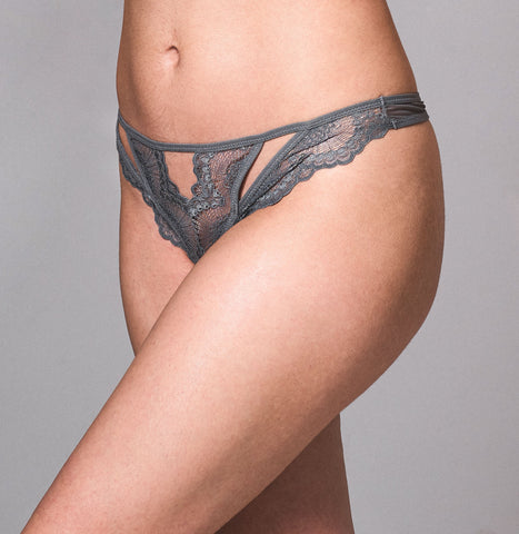 Mullberry Embroidered Thong - Cherry