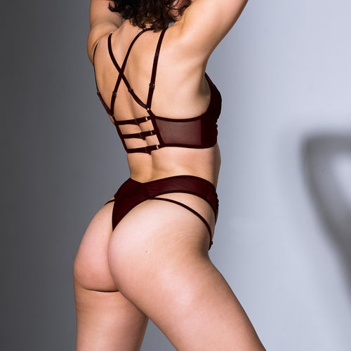 Smokin Mirrors Thong - Burgundy