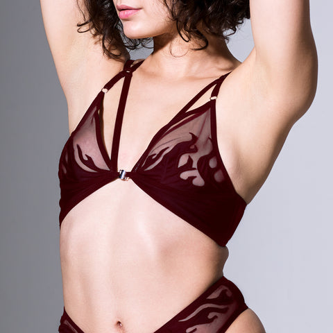 Smokin Mirrors Bodysuit - Burgundy