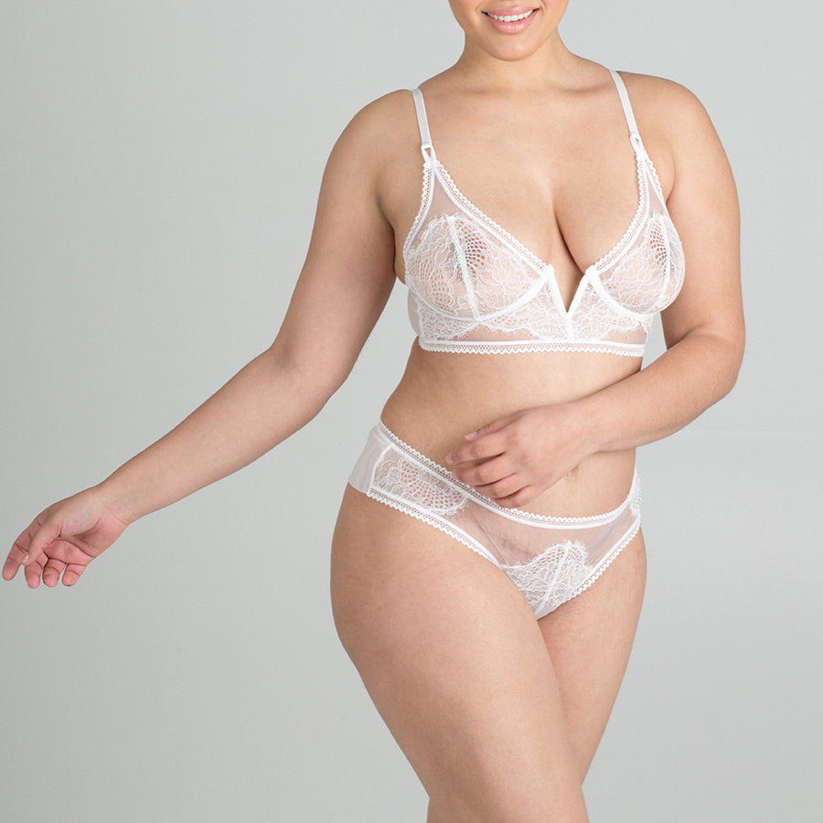 Eyelash Lace Mirage Long Line Bra - Ivory