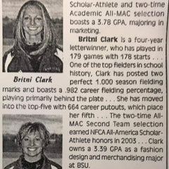 Britni Harris Ball State Softball record holder 2004