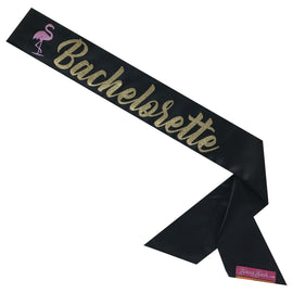 Flamingo Bachelorette Sassy Sash - Black