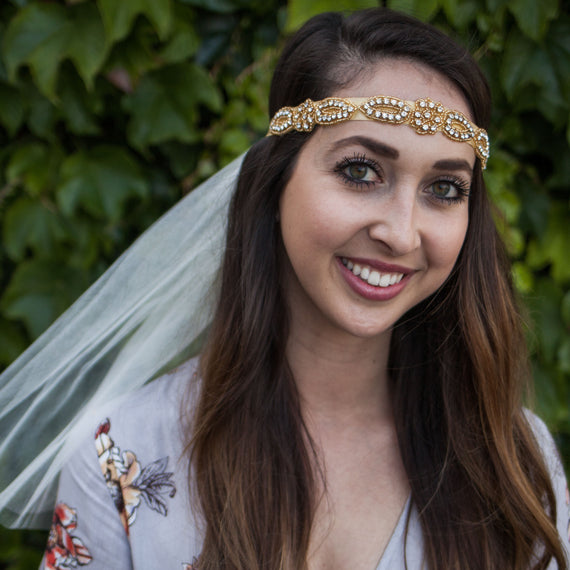 Boho Bride - Rhinestone Headband with Detachable Veil